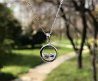 Подвеска серебряная Океан с ярким фианитом, короткая цепочка + кулон, серебро 925 пробы, длина 40+5 см
