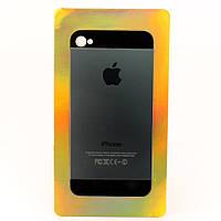 Алюминиевая Наклейка для Apple iPhone 5, (дизайн оригинальной крышки) Серая /накладка/чехол /айфон