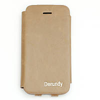 Чехол-книжка для Apple iPhone 5SE iPhone 5S iPhone 5, натуральная кожа, Derundy, Бежевый /flip case/флип кейс, фото 1