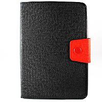 Чехол-книжка для iPad Mini, iPad Mini 2, iPad Mini 3, Силикон с Кожей, Черный с красным /flip case/флип кейс /айпад