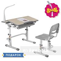 Комплект растущей мебели - Парта 80х62 см и стул-трансформеры ученические 7 - 13 лет ТМ FunDesk Lavoro Grey