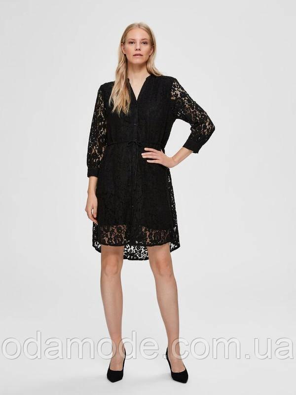 Женское черное гипюровое платье Selected