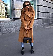 Женское демисезонное пальто из альпаки (кэмел)