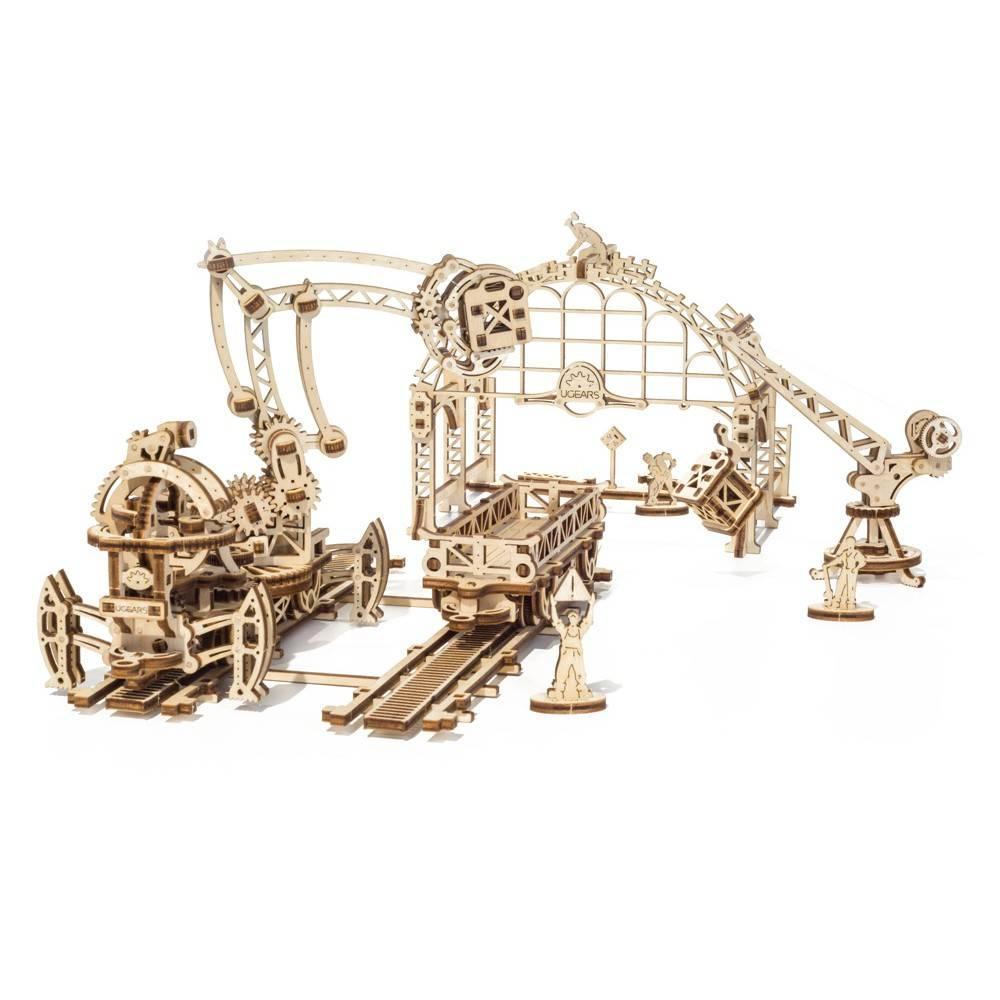 Маніпулятор на рейках UGears (356 деталей) - механічний дерев'яний 3D пазл конструктор