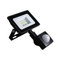 Світлодіодний прожектор з датчиком руху 10W ONE LED 6400K, фото 1
