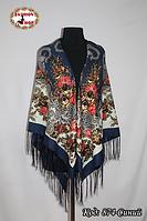 Женский синий павлопосадский платок Анфиса