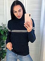 Жіночий теплий в'язаний светр з смужками,синій. Виробництво Туреччина.