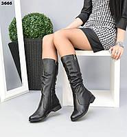 Жіночі демісезонні чоботи на низькому ходу 37 р чорний