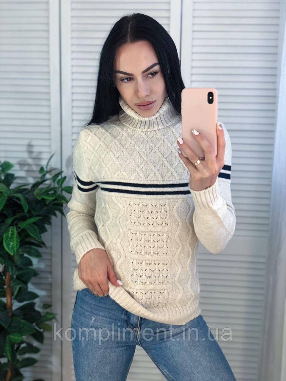 Жіночий теплий в'язаний светр з смужками,сірий. Виробництво Туреччина.