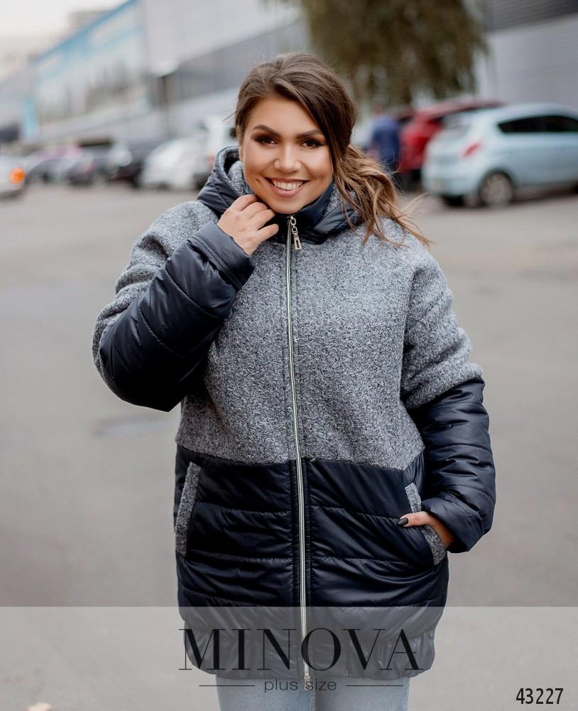 Куртка женская демисезонная с капюшном удлиненная  батальная размеры: 52-62