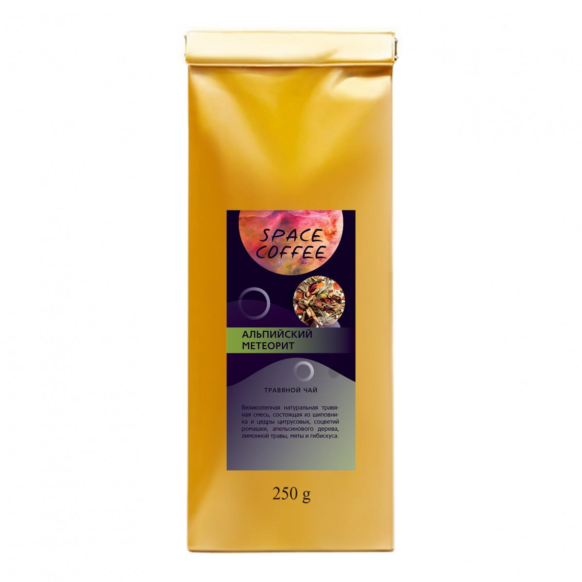 Трав'яний чай з шипшиною, м'ятою, ромашкою, цедрою цитрусових Альпійський метеорит Space Coffee 250 грам