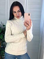 Жіночий теплий светр з красивою в'язкою,білий. Виробництво Туреччина.