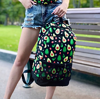 Рюкзак молодежный с рисунком Авокадо, Городской рюкзак с принтом, Модный портфель для старшеклассников