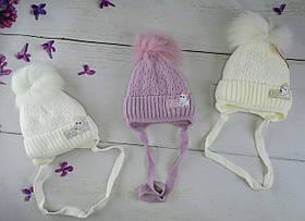 Зимняя шапка для девочек на завязках Собачка Размер 36-38 Микс KR1843(36-38)+ Щасливе дитинство Украина