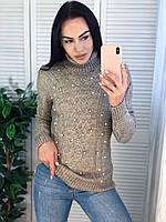 Жіночий теплий светр з красивою в'язкою,сірий. Виробництво Туреччина.