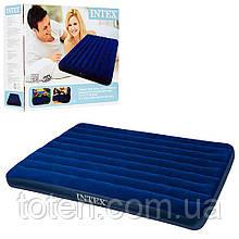Матрас надувной велюровый Intex 68759 (64759) 152-203-22 см, флокированная поверхность, цвет синий