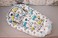 """Кокон гнездышко для новорожденных с подушкой """"Цветные машинки"""""""