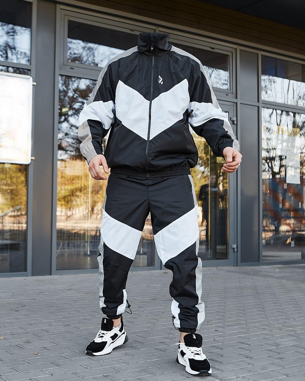 Split Мужской спортивный костюм на микрофлисе с рефлективом черный белый еврозима. Ветровака+штаны