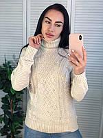 Жіночий теплий светр з красивою в'язкою,молоко. Виробництво Туреччина.