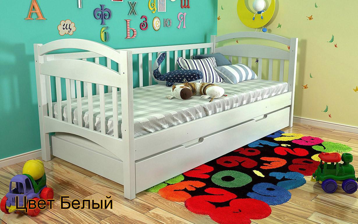Кровать детская Алиса из натурального дерева. Белая.