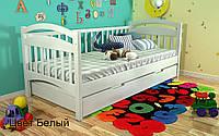 Кровать детская Алиса из натурального дерева. Белая., фото 1