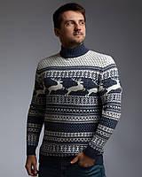 Чоловічий светр з оленями з прямою горловиною в колір Індиго