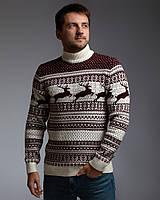 Чоловічий светр з оленями біло-бордовий з прямою горловиною