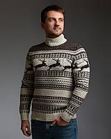 Чоловічий светр з оленями бежево-коричневий з прямою горловиною