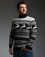 Чоловічий светр з оленями чорно-білий з прямою горловиною