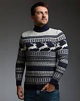 Чоловічий светр з оленями синьо-білий з прямою горловиною