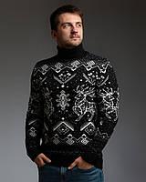 Чоловічий теплий чорний светр з оленями з підвернути горловиною