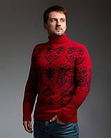 Чоловічий теплий червоний светр з оленями з підвернути горловиною