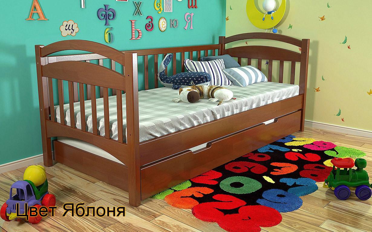 Кровать детская Алиса из натурального дерева. Яблоня.