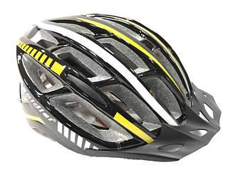 Шлем велосипедный Soldier с мигалкой с козырьком Желтый