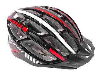 Шлем велосипедный Soldier с мигалкой с козырьком Красный