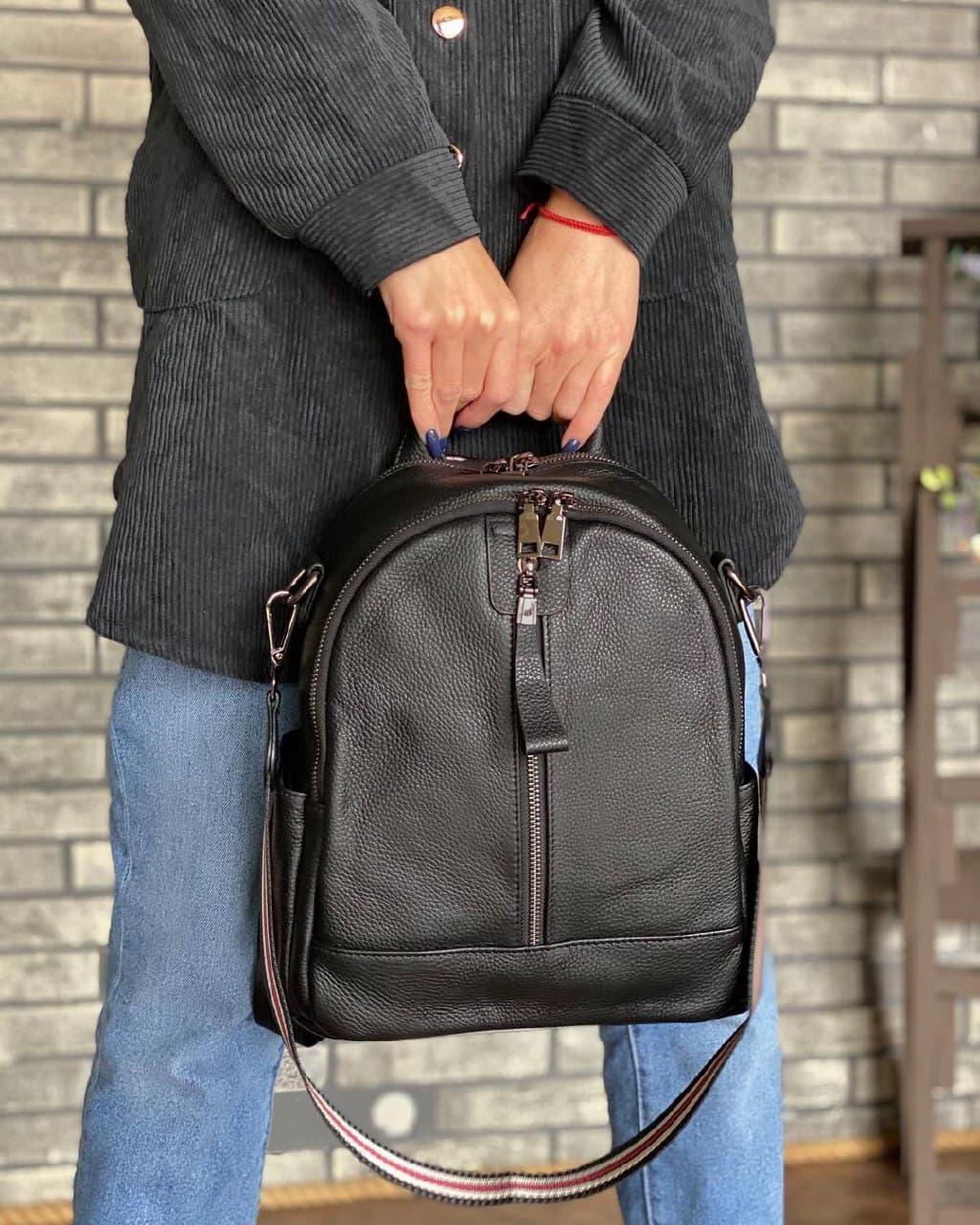 Женский кожаный рюкзак magicbag черный