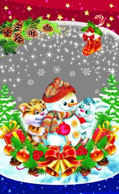 Новорічна подарункова фольгована упаковка 25*40 см Сніговик
