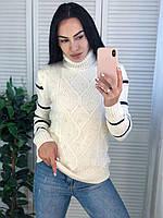 Жіночий теплий в'язаний светр з смужками під горло,білий. Виробництво Туреччина.