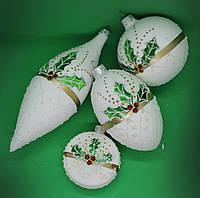 Набор Стеклянных Ёлочных игрушек на ёлку ручной работы, набор из стеклянного шара, элипса, шишки и медали 4 шт