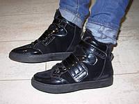С360 - Женские ботинки зимние черные липучка