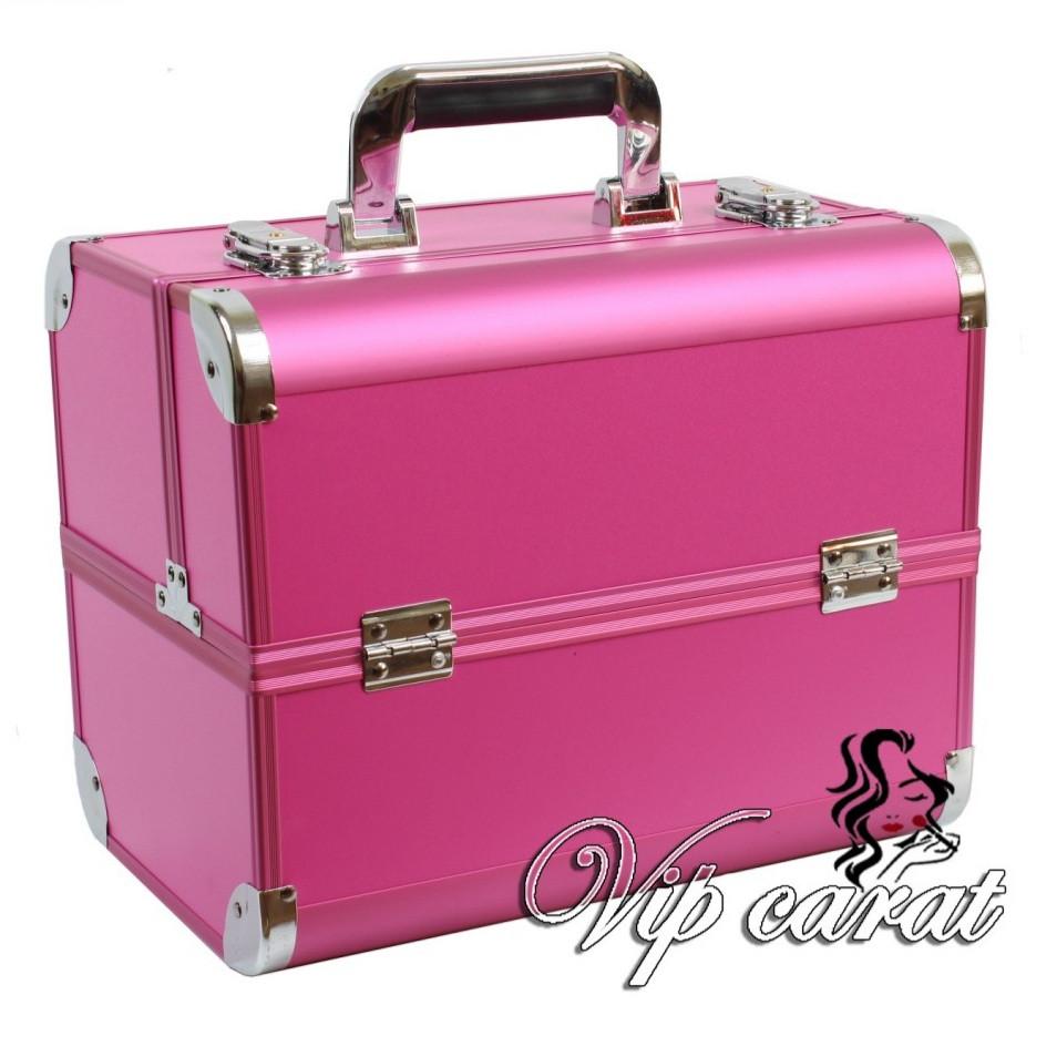 """Бьюти кейс для косметики, визажиста, мастера маникюра с выдвижными полочками """"Exclusive"""", розовый"""