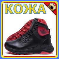 Зимние кроссовки мужские на меху | Мужские зимние кожаные кроссовки Jordan Black leather | Кроссовки теплые
