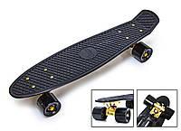 Пенни борд детский / подростковый Черный Penny Board Black Gold Подвеска, матовые колеса