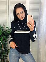 Жіночий турецький теплий в'язаний светр під горло з смужками,синій.
