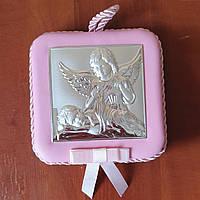 Икона серебряная детская Два Ангела музыкальная для девочки, фото 1
