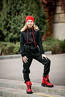 Спортивний комбінезон теплий на флісі чорний на дівчинку-підлітка зростання 140-176