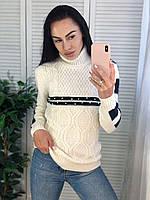 Жіночий турецький теплий в'язаний светр під горло з смужками,білий.