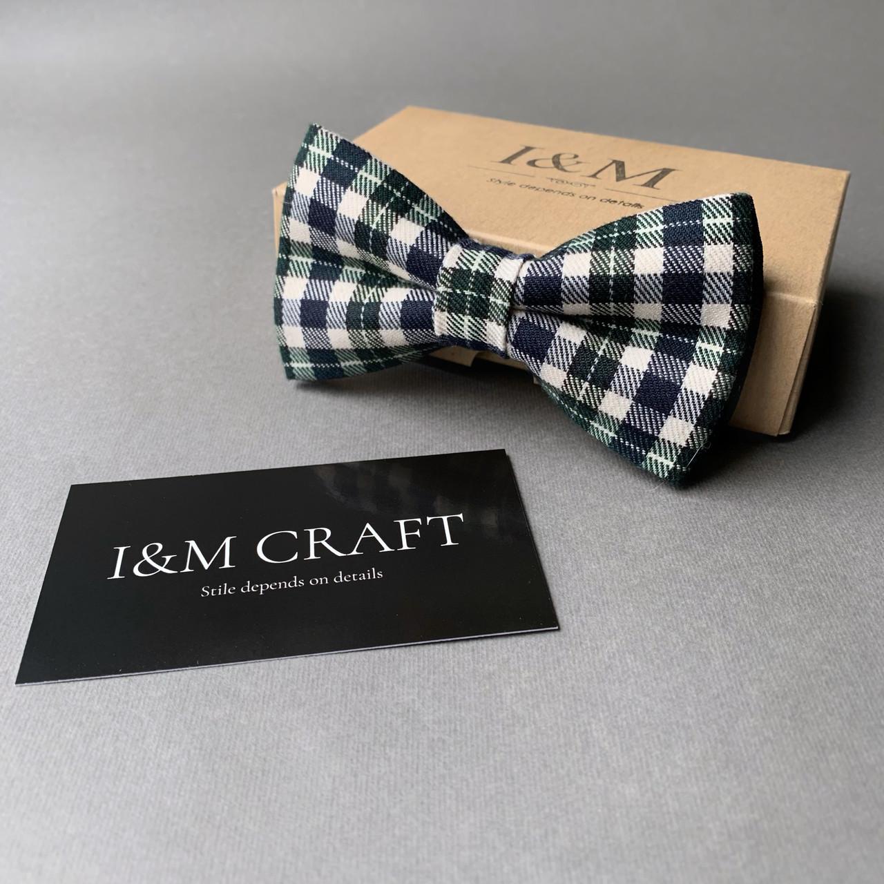 Краватка-метелик I&M Craft в темно-зелену клітку (010409)