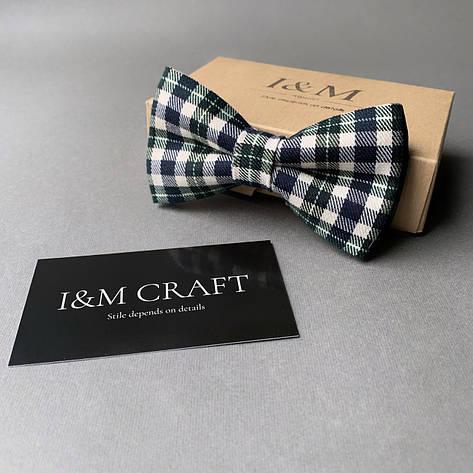 Краватка-метелик I&M Craft в темно-зелену клітку (010409), фото 2