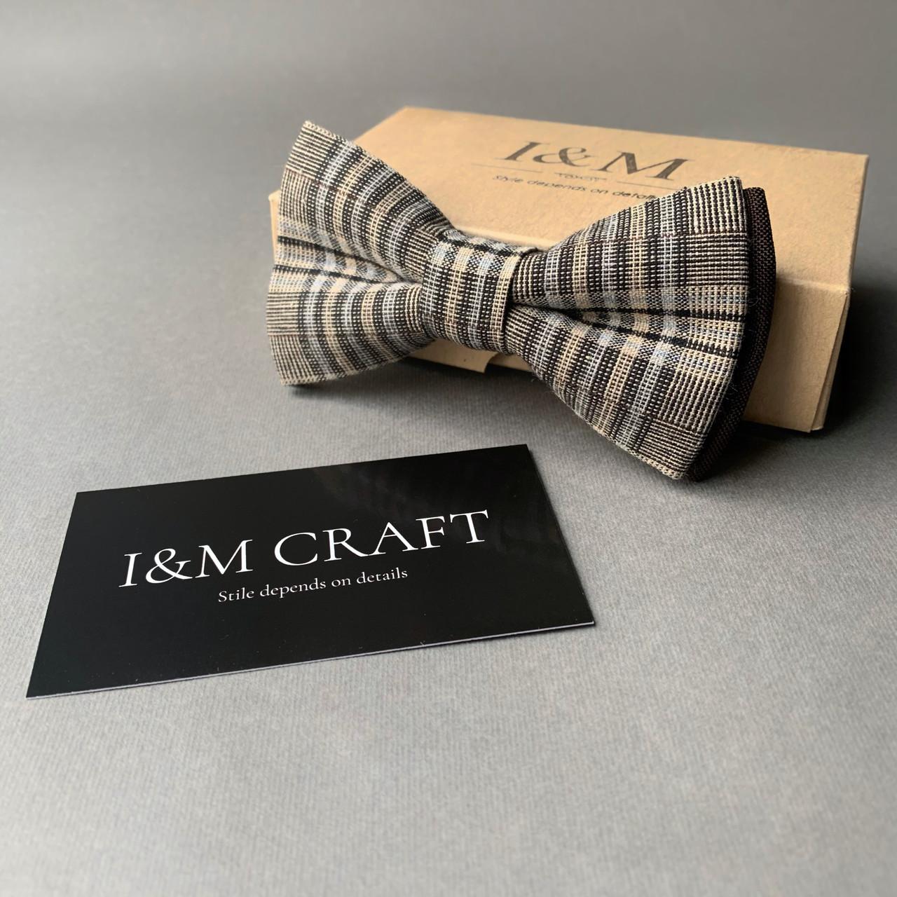 Галстук-бабочка I&M Craft коричневый в клетку (010435)